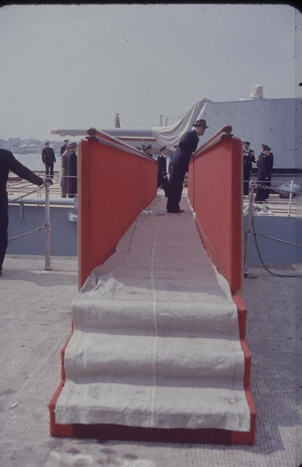 Soviet cruiser Ordzhonikidze (1950) arrives in Portsmouth carrying Nikita Khrushchev & Nikolai Bulganin for a diplomatic mission to Britain in April 1956 08