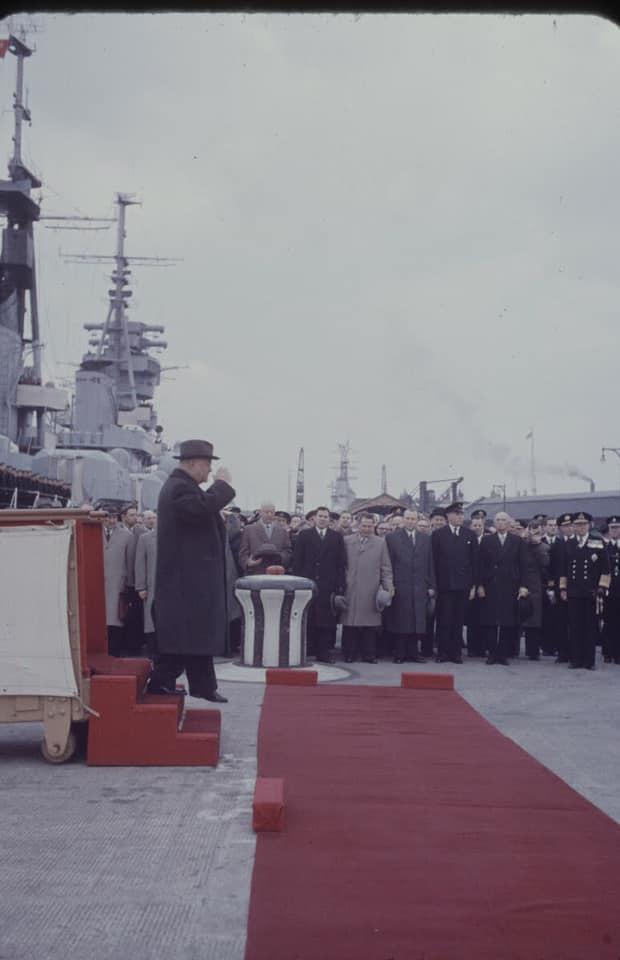 Soviet cruiser Ordzhonikidze (1950) arrives in Portsmouth carrying Nikita Khrushchev & Nikolai Bulganin for a diplomatic mission to Britain in April 1956 09