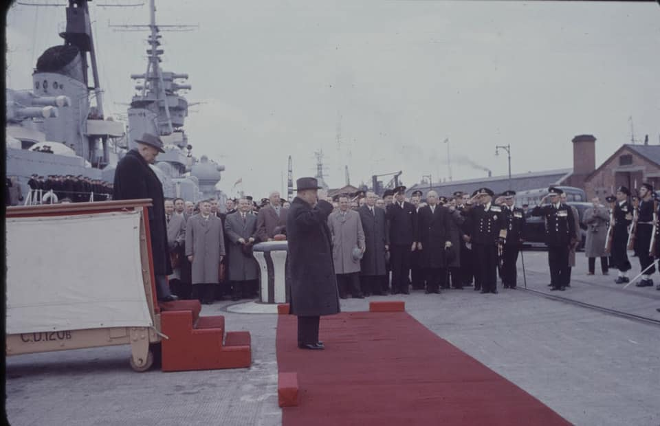 Soviet cruiser Ordzhonikidze (1950) arrives in Portsmouth carrying Nikita Khrushchev & Nikolai Bulganin for a diplomatic mission to Britain in April 1956 10