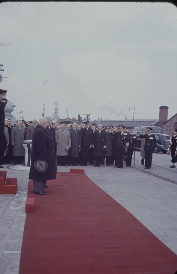 Soviet cruiser Ordzhonikidze (1950) arrives in Portsmouth carrying Nikita Khrushchev & Nikolai Bulganin for a diplomatic mission to Britain in April 1956 11
