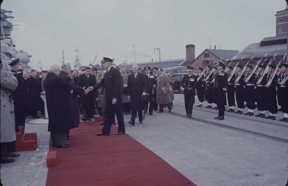 Soviet cruiser Ordzhonikidze (1950) arrives in Portsmouth carrying Nikita Khrushchev & Nikolai Bulganin for a diplomatic mission to Britain in April 1956 12