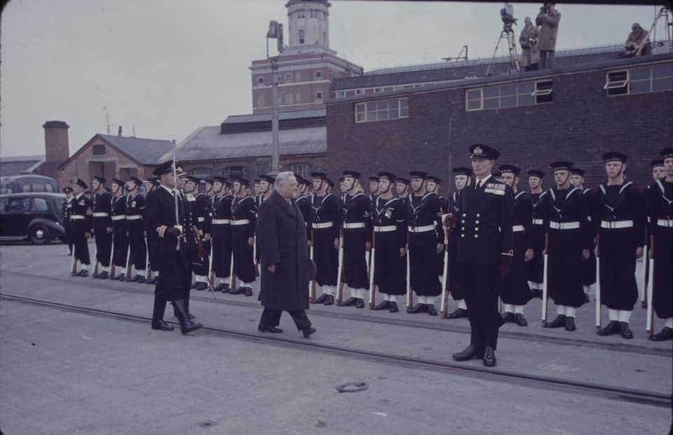 Soviet cruiser Ordzhonikidze (1950) arrives in Portsmouth carrying Nikita Khrushchev & Nikolai Bulganin for a diplomatic mission to Britain in April 1956 13