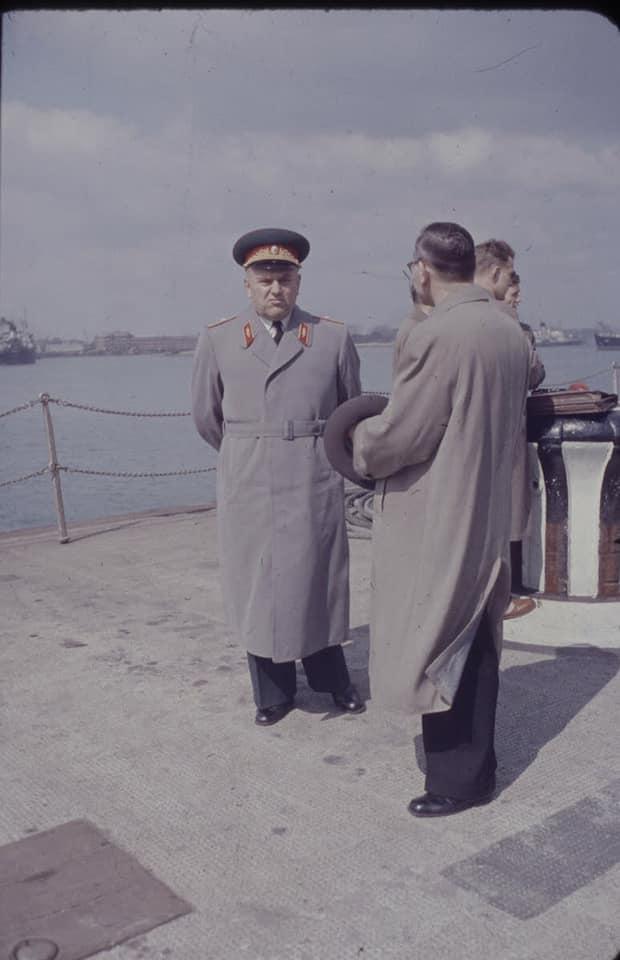 Soviet cruiser Ordzhonikidze (1950) arrives in Portsmouth carrying Nikita Khrushchev & Nikolai Bulganin for a diplomatic mission to Britain in April 1956 14