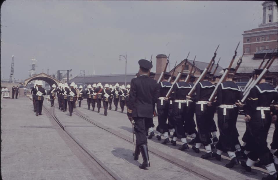 Soviet cruiser Ordzhonikidze (1950) arrives in Portsmouth carrying Nikita Khrushchev & Nikolai Bulganin for a diplomatic mission to Britain in April 1956 16