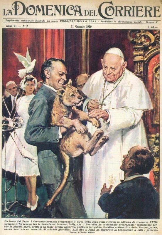 Walter Molino - Un leone dal Papa. La Domenica del Corriere, 1959-01-11