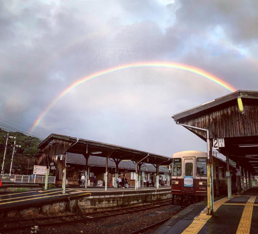 Rainbow over Tenryu-Futamata station, on Tenryu Hamanako railway