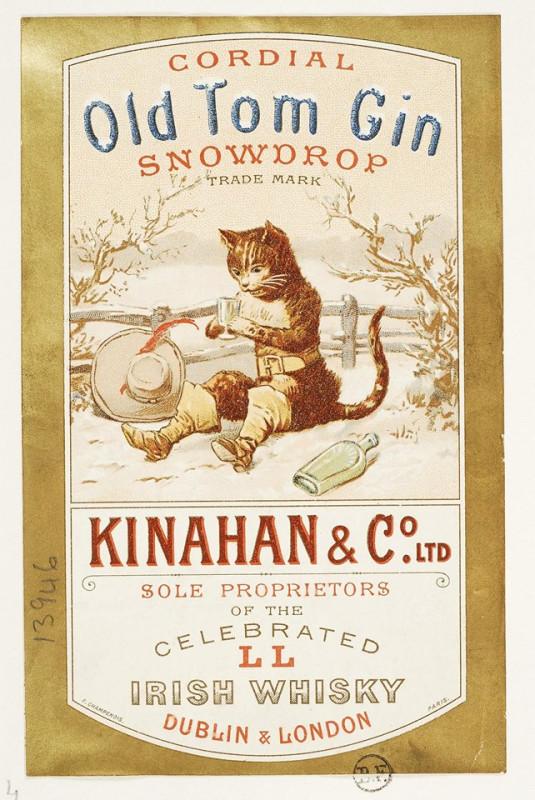 Bottle label Old Tom Gin, Kinahan & Co. LTD, Dublin & London.