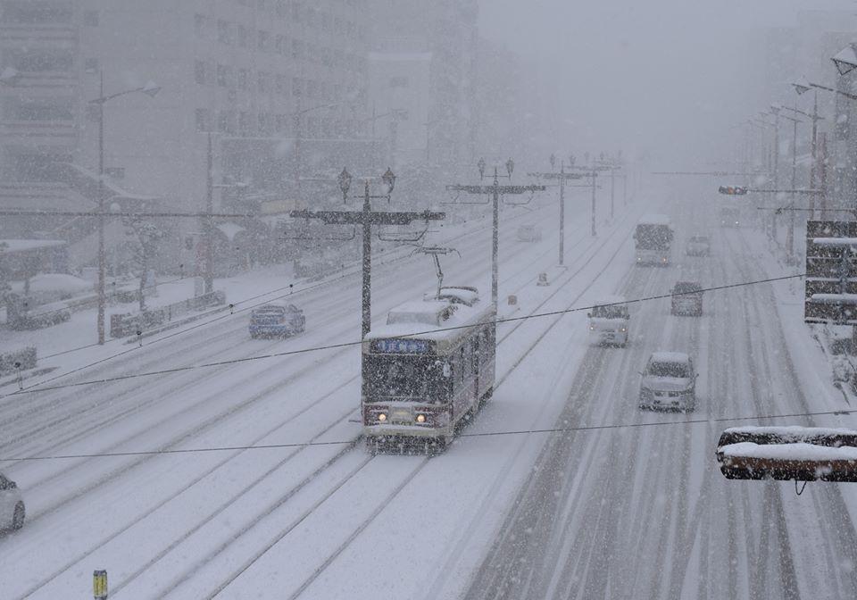 Nagasaki tramway in snow
