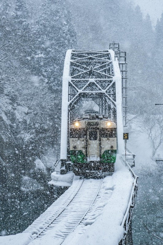 One of the Tadami line photo competition winning selection , train in the snow