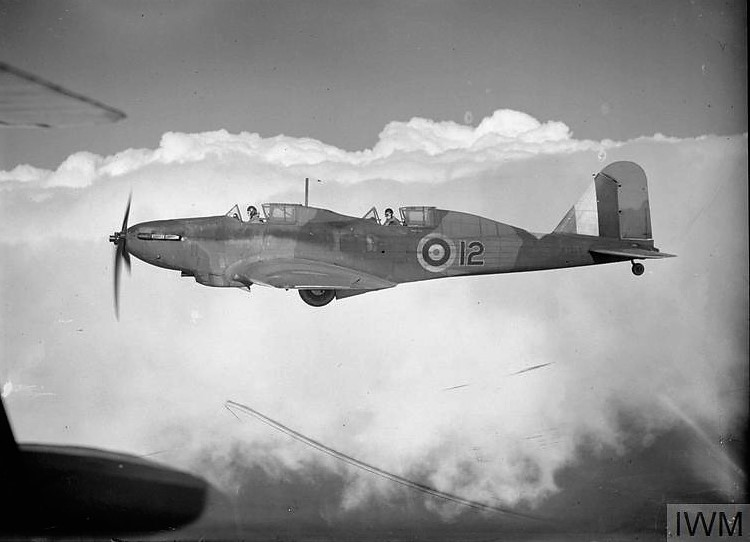 Fairey Battle trainer R7365-12 of the RAF's No.1 Service Flying Training School, Netheravon, Wiltshire, was converted from a two-seat Battle light bomber