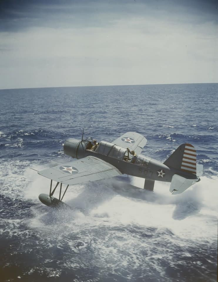 Vought OS2U Kingfisher operations from the Battleship USS Texas BB-35 in early 1942 79866525_2747206748698122_6557667345840472064_n