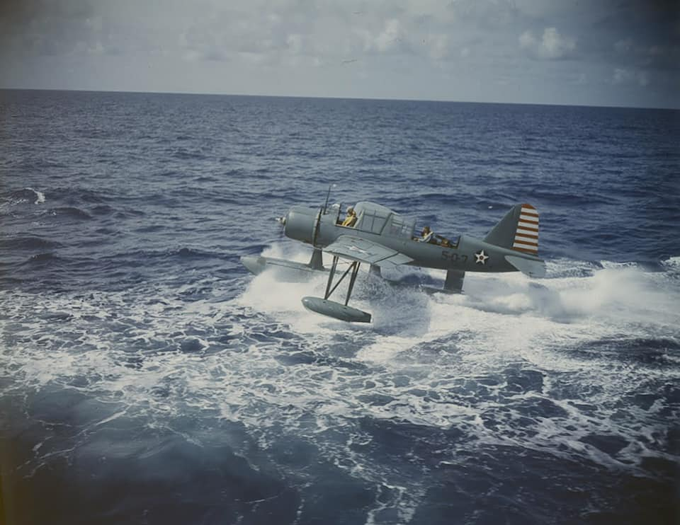 Vought OS2U Kingfisher operations from the Battleship USS Texas BB-35 in early 1942 80569669_2747206745364789_8422905096269987840_n