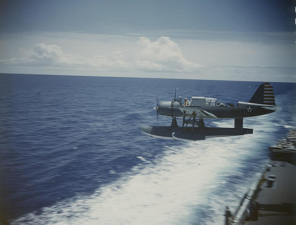 Vought OS2U Kingfisher operations from the Battleship USS Texas BB-35 in early 1942 80396842_2747206615364802_1829324015584411648_n