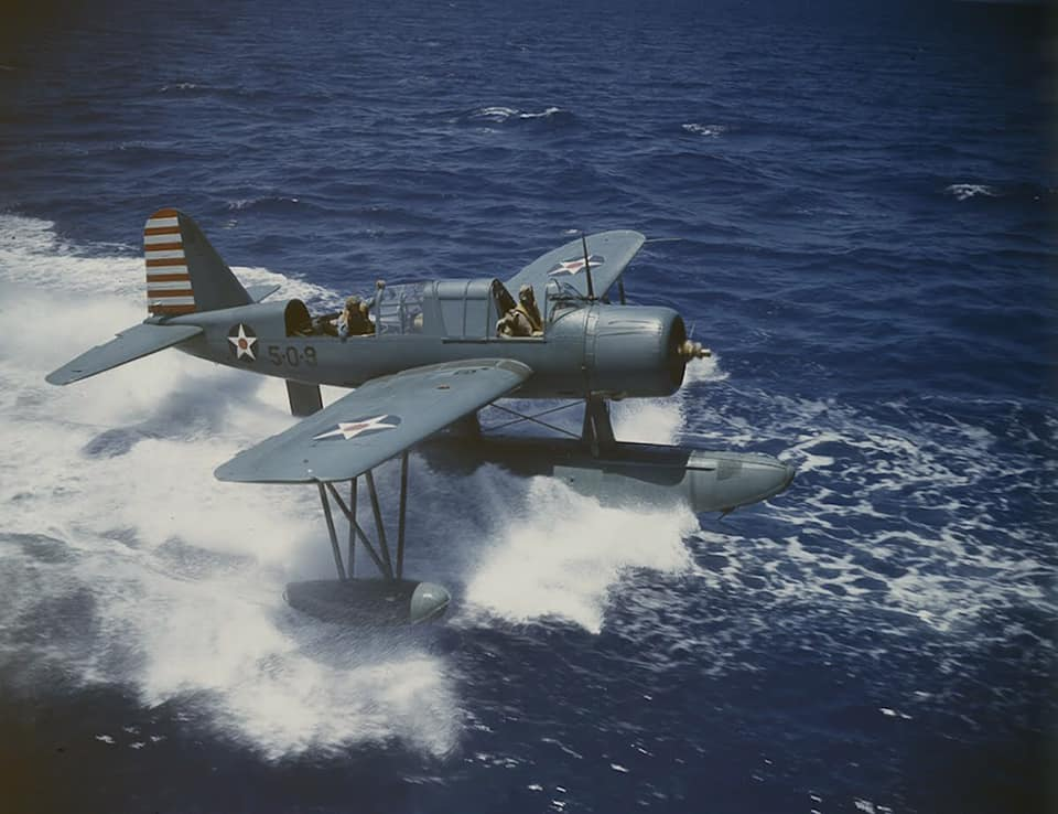 Vought OS2U Kingfisher operations from the Battleship USS Texas BB-35 in early 1942 80631187_2747206638698133_4227057704067137536_n
