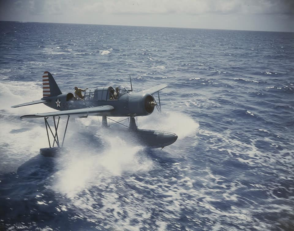 Vought OS2U Kingfisher operations from the Battleship USS Texas BB-35 in early 1942 79913053_2747206582031472_4181875850704060416_n