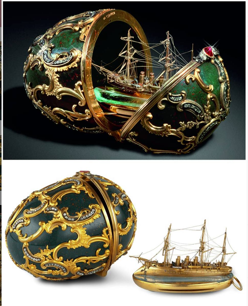 Russian Imperial Faberge Egg - Pamiat Azova Egg. It was made in 1891 for Tsar Alexander III, who presented it to his wife, the Tsarina Maria Feodorovna, as an Easter gift
