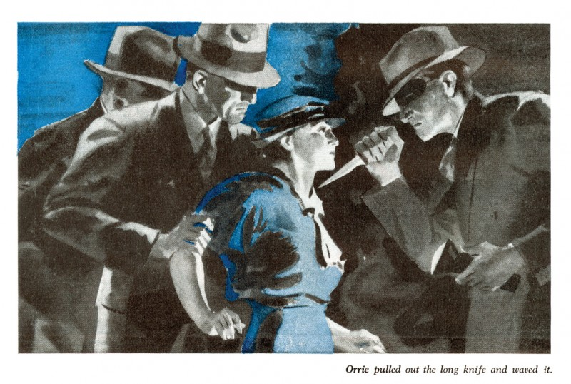 1934 Nov. The American Magazine printing of Point of Death (1934) by Rex Stout, an abridged version of the novel Fer-de-Lance, illustration by Fred Ludekens
