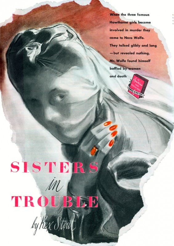 1940 May. The American Magazine abridged printing of Where There's a Will (1940), novel by Rex Stout, titled Sisters in Trouble, illustration by Carl Mueller