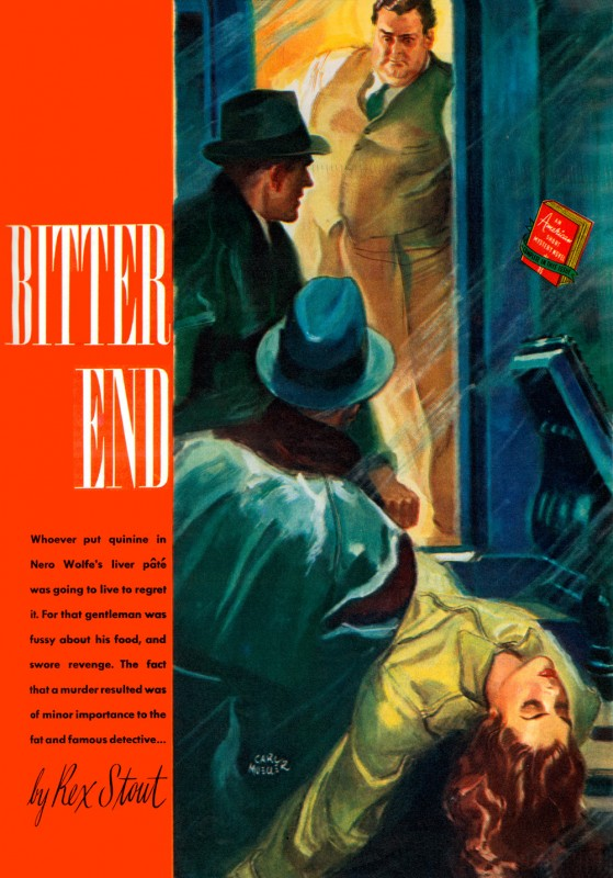 1940 Nov. The American Magazine, printing of Bitter End (1940), novella by Rex Stout, illustration by Carl Mueller