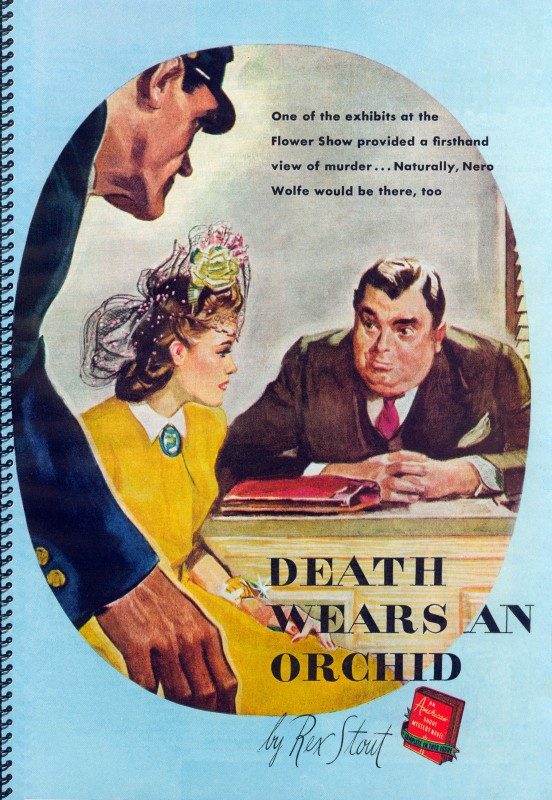 1941 Aug. The American Magazine, printing of Death Wears an Orchid, story by Rex Stout and was subsequently collected in the book Black Orchids (1942) as Black Orchids, illustration by Fred Ludekens