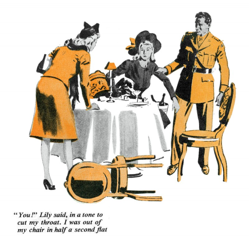 1942 Dec. The American Magazine, printing of Not Quite Dead Enough, novella by Rex Stout, illustration by Fred Ludekens 2