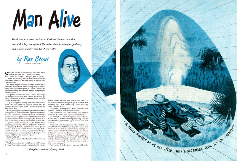 1947 Dec. The American Magazine, printing of  Man Alive, short story by Rex Stout, illustration by Stanley Ekman
