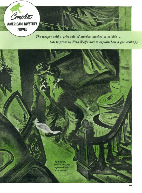 1949 Dec. The American Magazine printing of The Gun with Wings, short story by Rex Stout, illustration by Thornton Utz