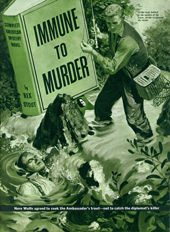 1955 Nov. The American Magazine, printing of Immune to Murder, story by Rex Stout and was subsequently collected in the book Three for the Chair (1957), illustration by Thornton Utz
