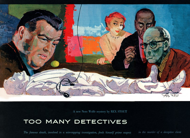 1956 Sept. Collier's, printing of Too Many Detectives, novella by Rex Stout collected in the short story collection Three for the Chair (1957), illustrator Alex Ross