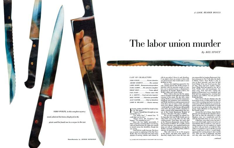 1957 July. Look, printing of The Labor Union Murder (later titled Fourth of July Picnic), short story by Rex Stout, photo-illustration by Arthur Rothstein