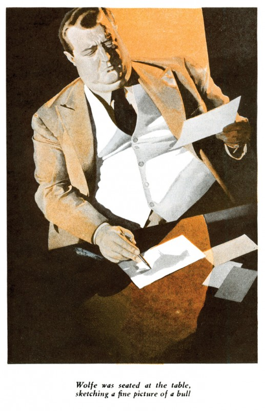 1938 Dec. The American Magazine printing of Some Buried Caesar (1939), novel by Rex Stout that first appeared under the title The Red Bull, illustration by Ronald McLeod 2+