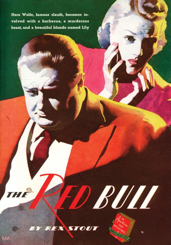 1938 Dec. The American Magazine printing of Some Buried Caesar (1939), novel by Rex Stout that first appeared under the title The Red Bull, illustration by Ronald McLeod+