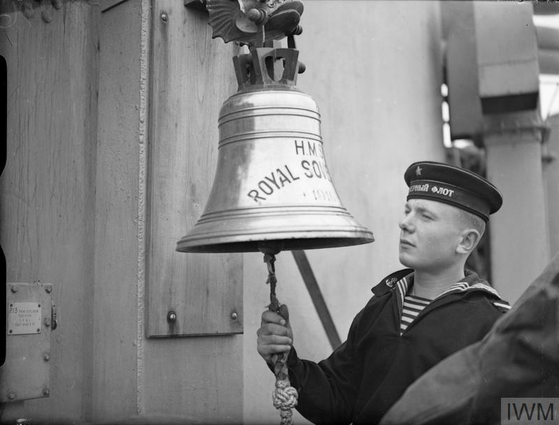 British bell with a red sailor. Battleship ARCHANGELSK, alias HMS ROYAL SOVEREIGN, 30 May 1944