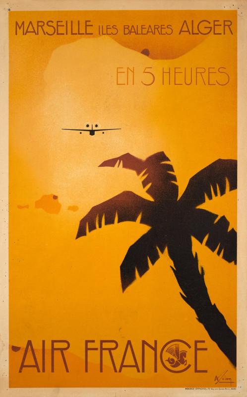 Air France. Marseille - Iles Baleares - Alger en 5 heures. Artist Albert Solon 1934