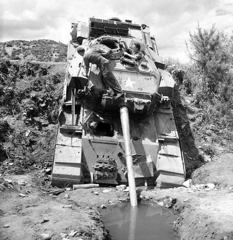 British Centurion tank caught in accident, Korean war
