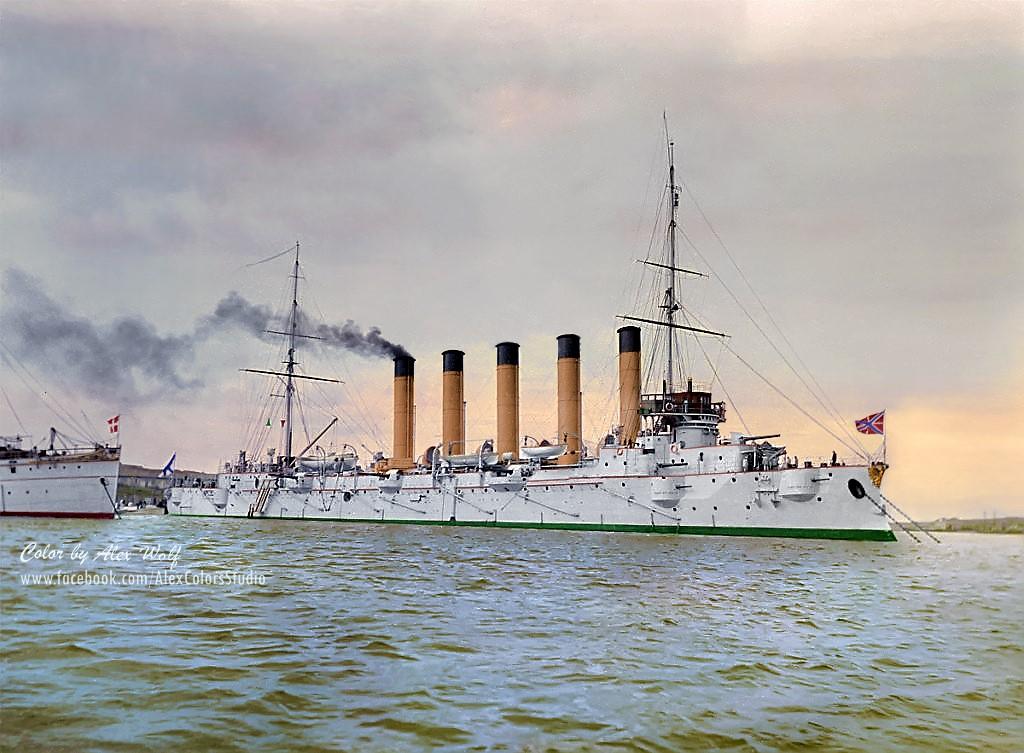 Крейсеръ 1 ранга Аскольдъ во время перехода изъ Киля въ Кронштадтъ летомъ 1902 года