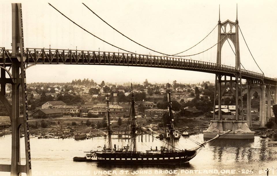 1933, Postcard of Old Ironsides Under the St. Johns Bridge, Portland, Oregon