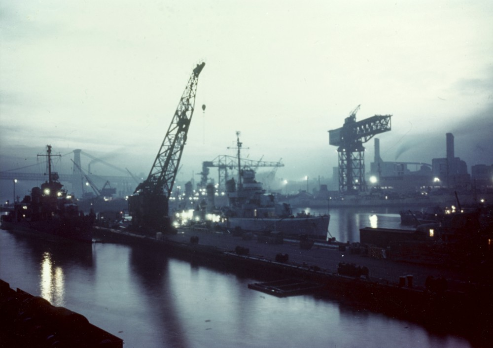 Brooklyn Navy Yard at dusk, in 1945. LR - USS Luce (DD-522) & USS Gherardi (DD-637)