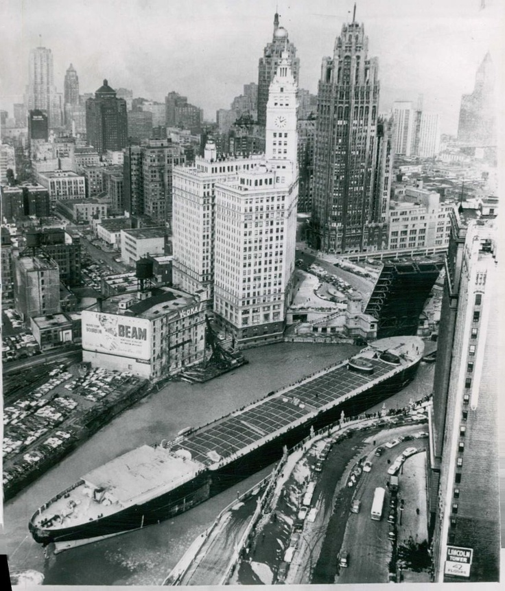March 5, 1953, the Marine Angel, the largest vessel to travel the Mississippi River and the Illinois Waterway, passes under the Michigan Avenue Bridge, in Chicago