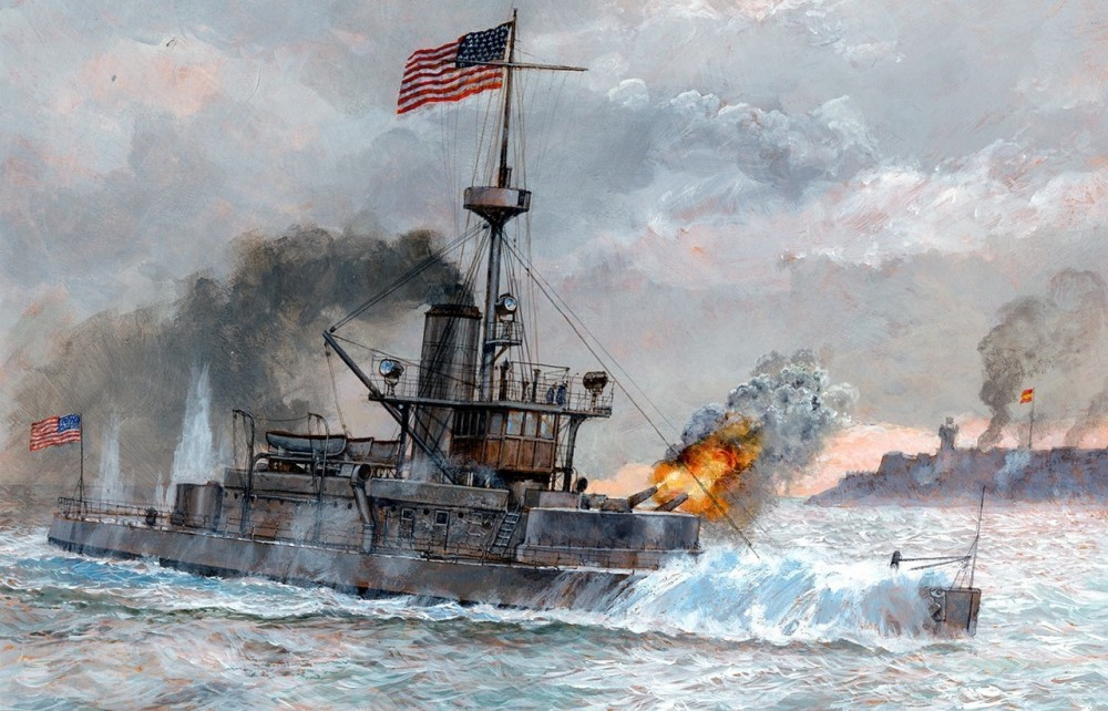 The USS TERROR (BM-4) vs San Juan fortress, 1898 Puerto Rico. (by Paul Wright)