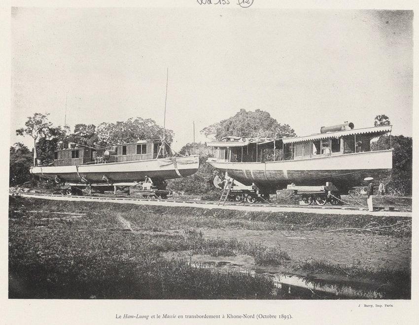 Album de la mission hydrographique du Haut Mekong, 1893-1896. Ham Luong (canonniere) La Grandiere (canonniere ; 1893-1910)
