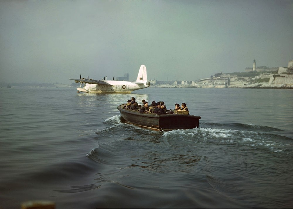 RAF Short Sunderland Mk I from No 204 Squadron RAF used for a patrol mission over the western approaches of the Atlantic Ocean from its base at RAF Mount Batten near Plymouth, 21st January 1940