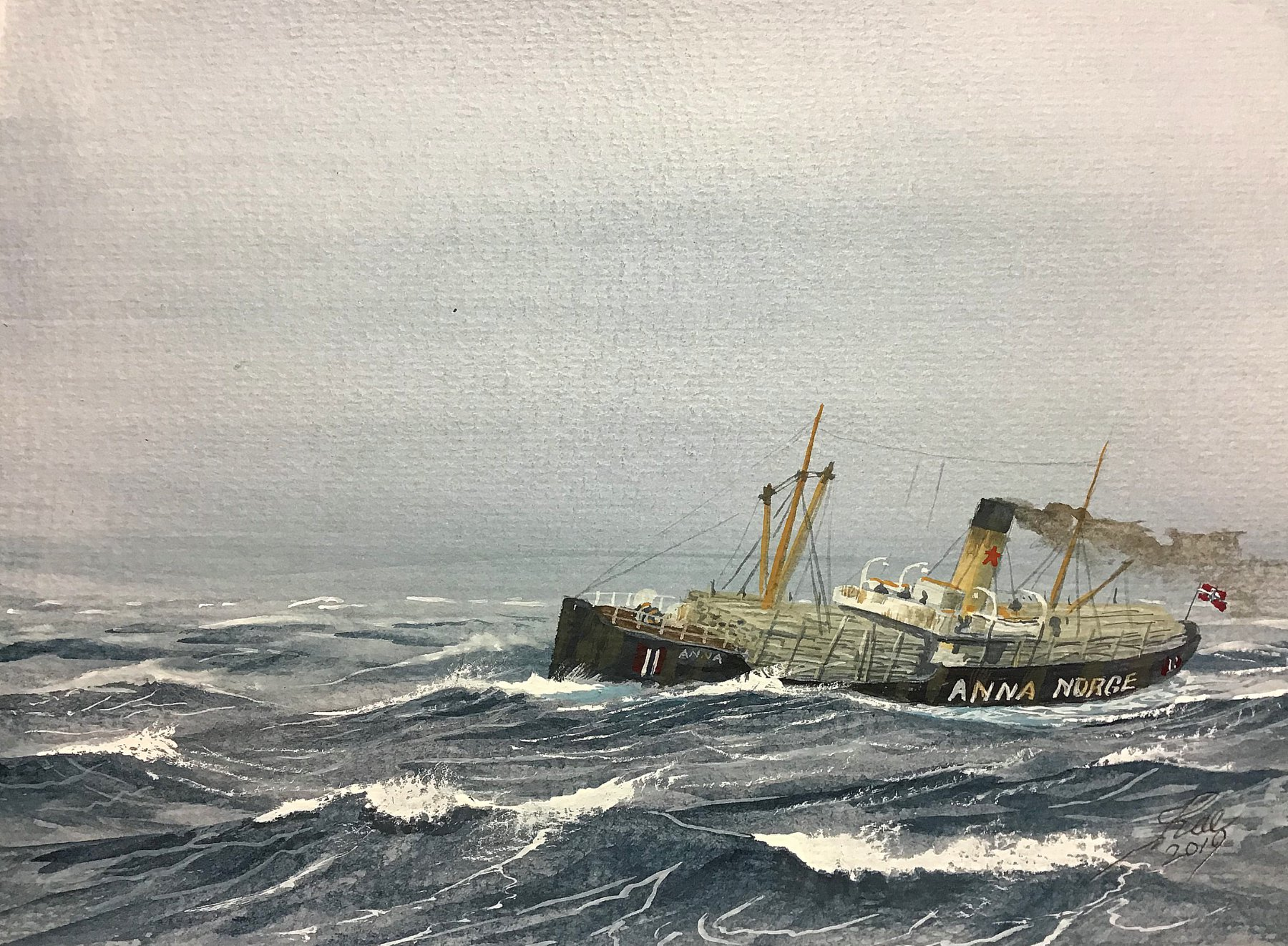 Norwegian Steamer Anna loaded with Timber in a gale. 1917 she was stopped and boarded by U16 on a voyage from Almeria to Glasgow with Esparto Grass. She was sunk by scuttling, no casualties
