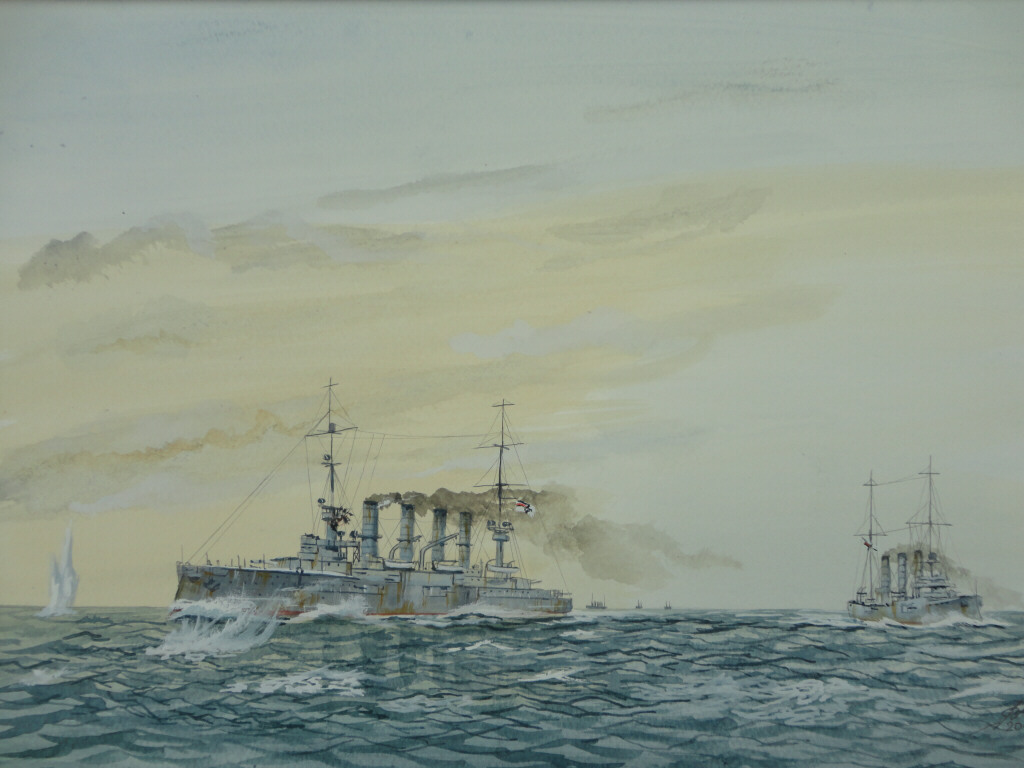 The receiving end of Canopus's opening shot. Gneisenau is hit by a ricocheting Practice shell, her and Nurnberg were ordered to with draw, and shortly after the chase began