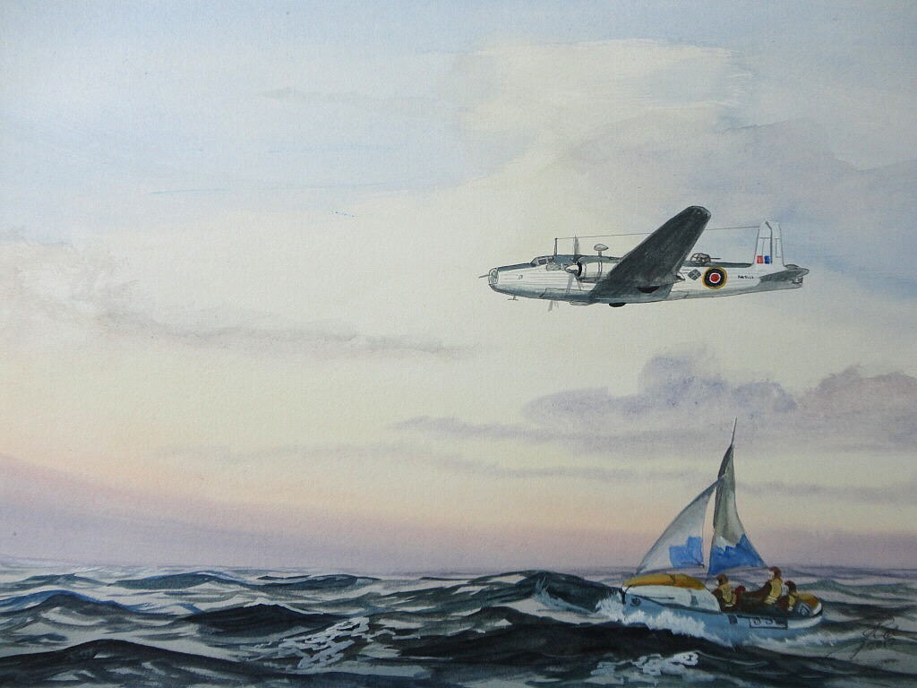 This way home. A downed crew sailing the Airborne Lifeboat dropped earlier by the Vickers Warwick which is flying on a heading for rescue