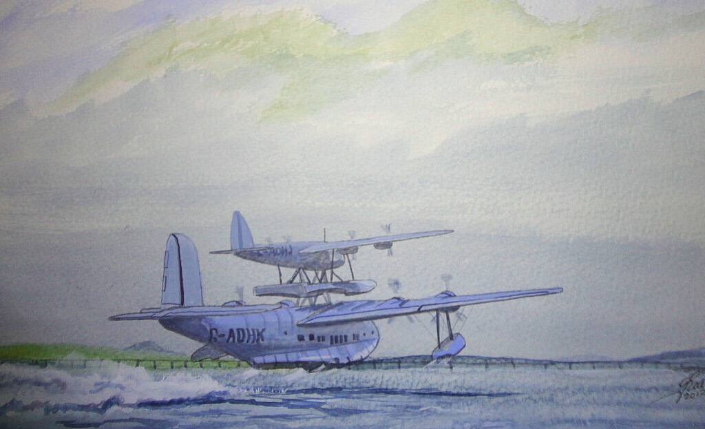 Maia and Mercury taking off from the river Tay for the record flight, Dundee to Alexander Bay South Africa 6,045mls - 9,726.4km 6-8th Oct 1938