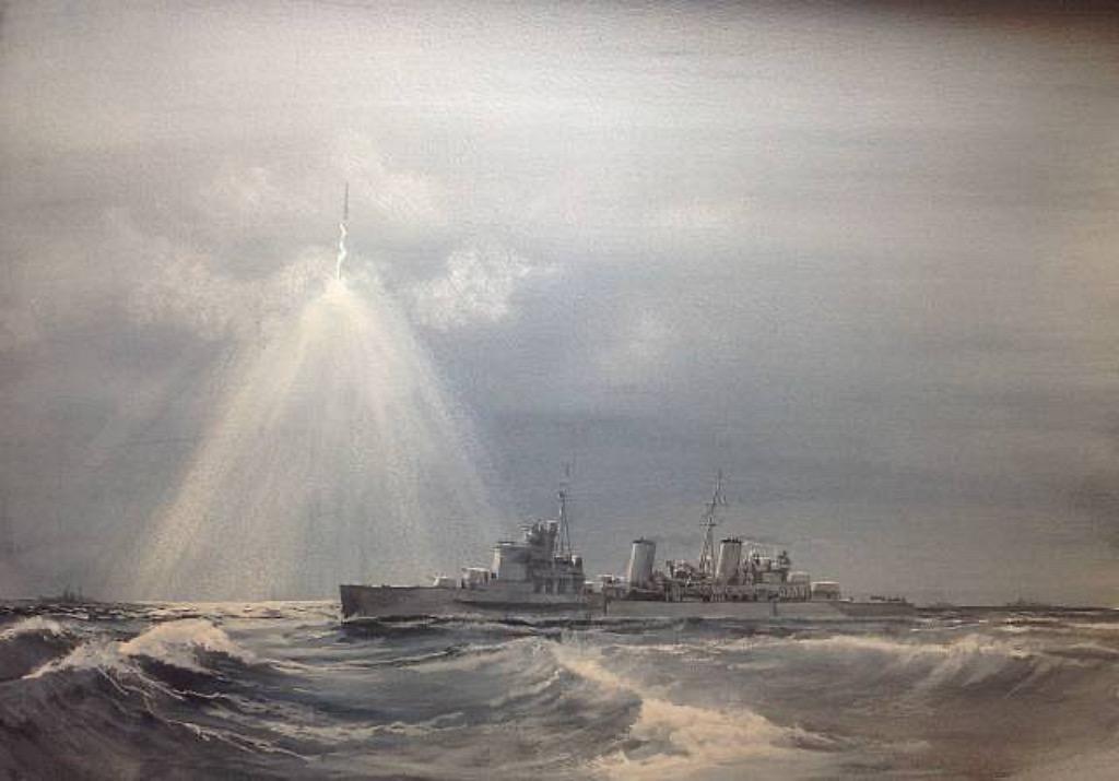 26-12-1943. Belfast illuminates Sharnhorst for Duke of York off the North Cape