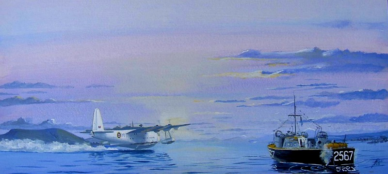Sunderland flying boat gets airborne as an Air Sea Rescue launch stands by. The a-c is taking off from the RAF Flying Boat Base at Ardantrive Bay west of Oban Argile Scotland