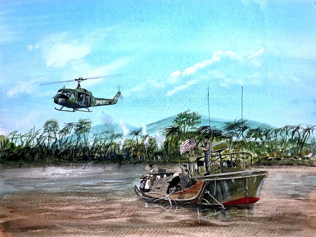PBR Stop and Search in Mekon Delta covered by a 'Huey'