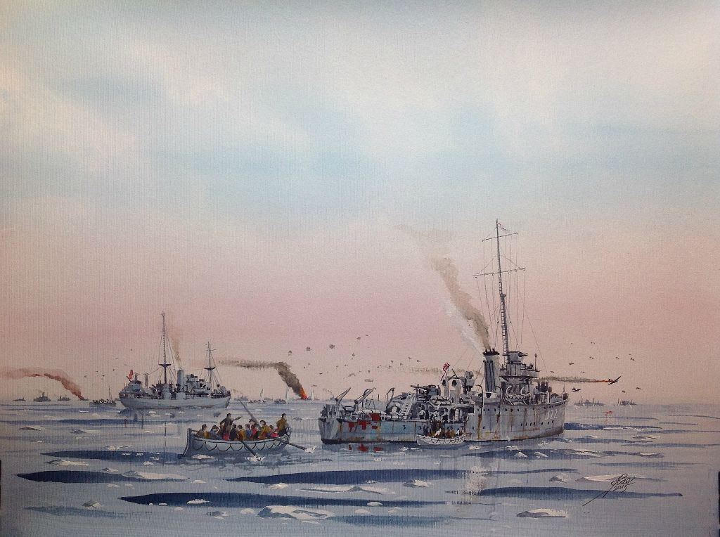 Same event as 'No Roses'. PQ18, HMS Britomart with Copeland in the background
